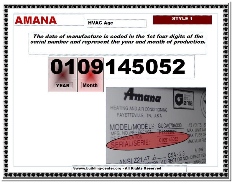 Amana Furnace Age Lookup