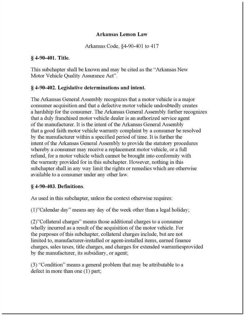 Arkansas Lemon Laws Used Cars