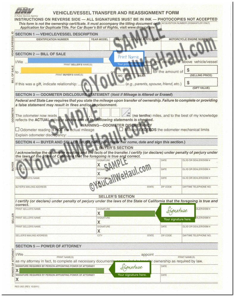 California Dmv Form Reg 262