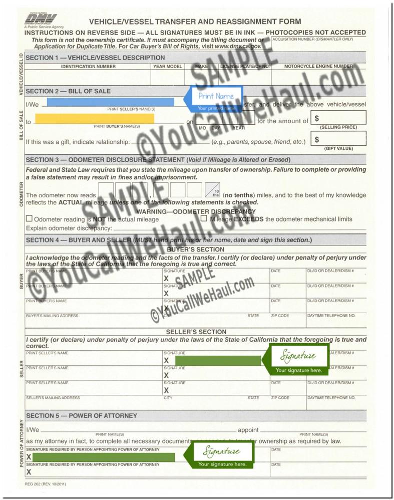 California Form Reg 262