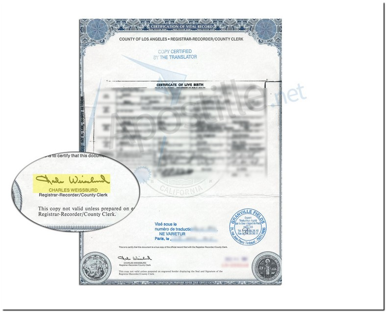Certified Birth Certificate Los Angeles County California