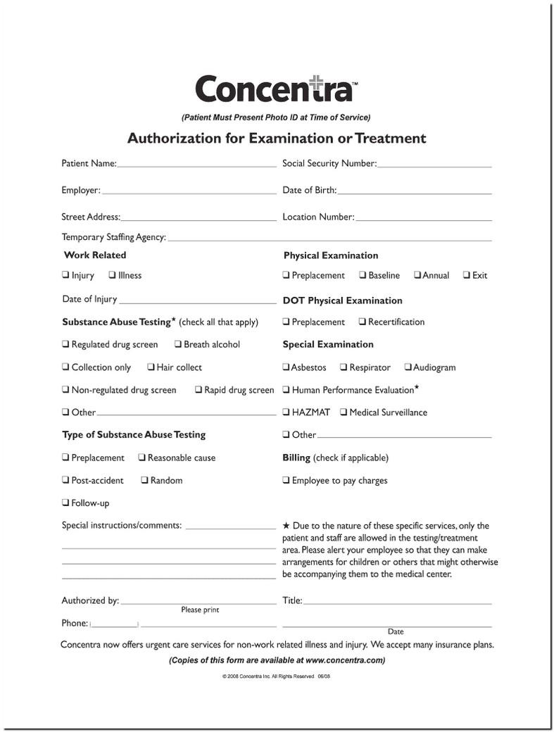 Concentra Drug Screening Form