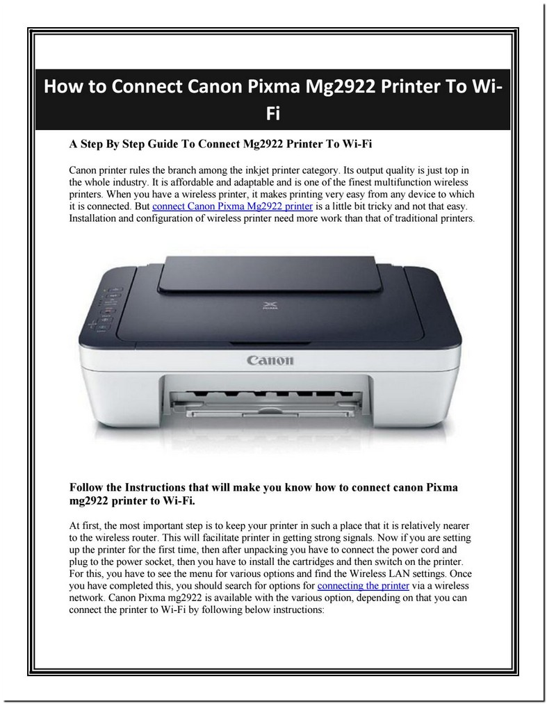 Connect Canon Mg2922 Printer To Wifi