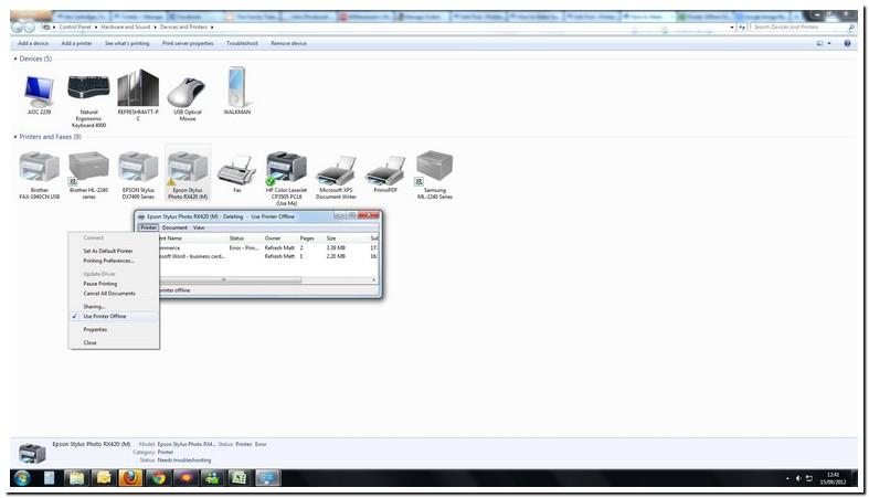 Epson Printer Saying Offline On Laptop