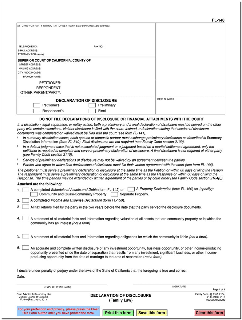 Family Law Form Fl 140