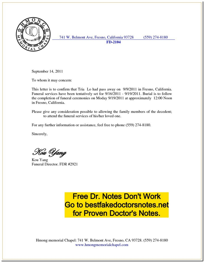 Forged Doctor Sick Note