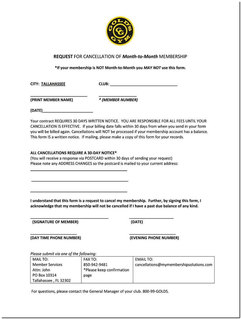 Gold Gym Contract Cancellation Fee
