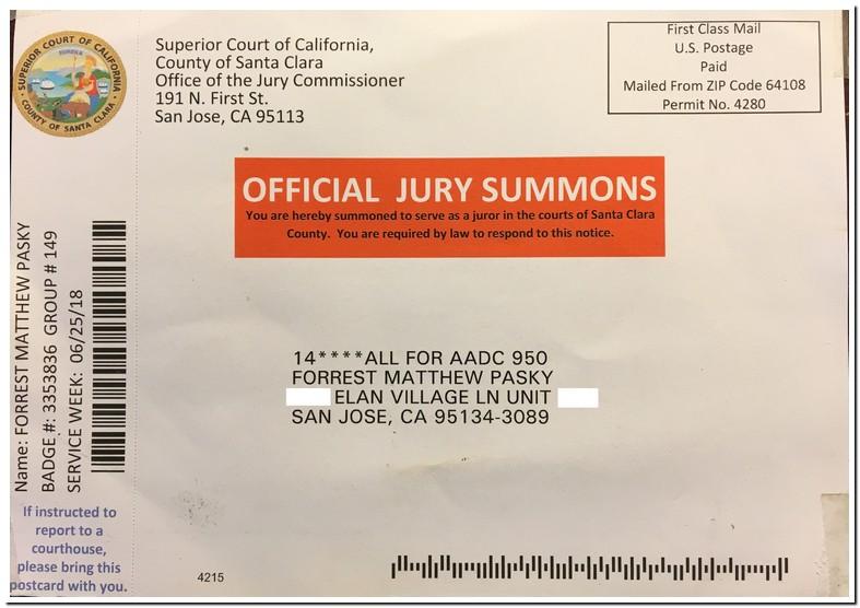 Jury Duty Summons Santa Clara County