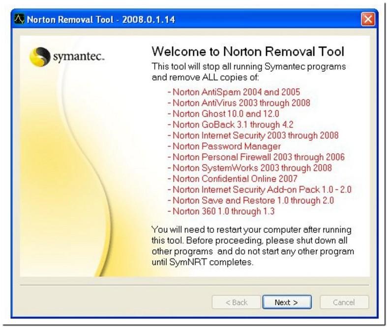 Norton Uninstall Tool Windows 10