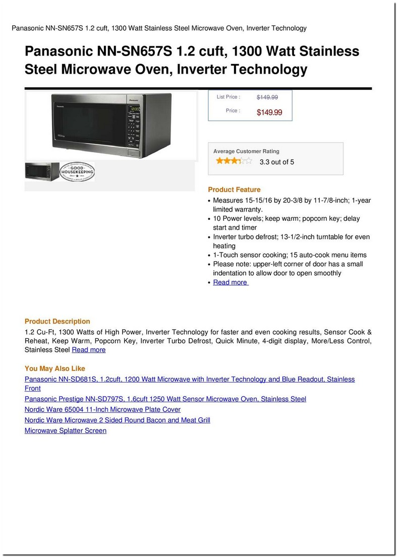 Panasonic 1300 Watt Inverter Microwave