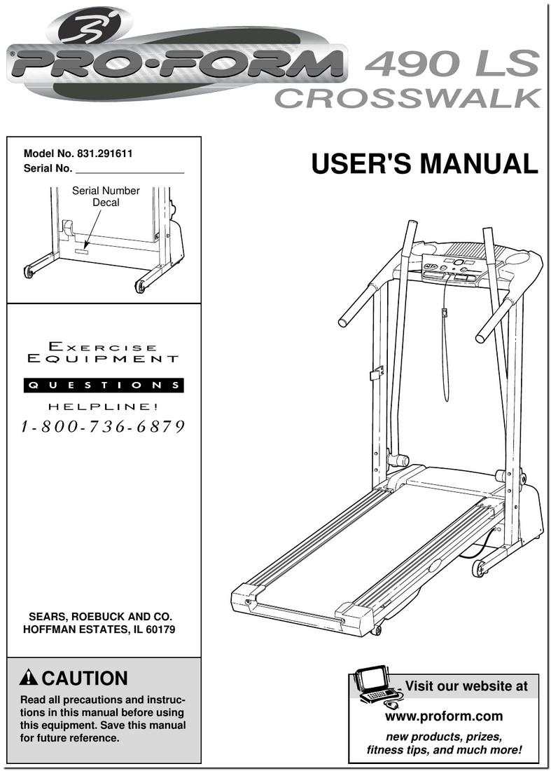 Proform 490 Ls Crosswalk Treadmill Manual