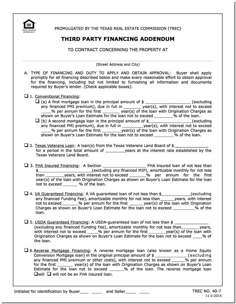 Seller Financing Addendum Trec