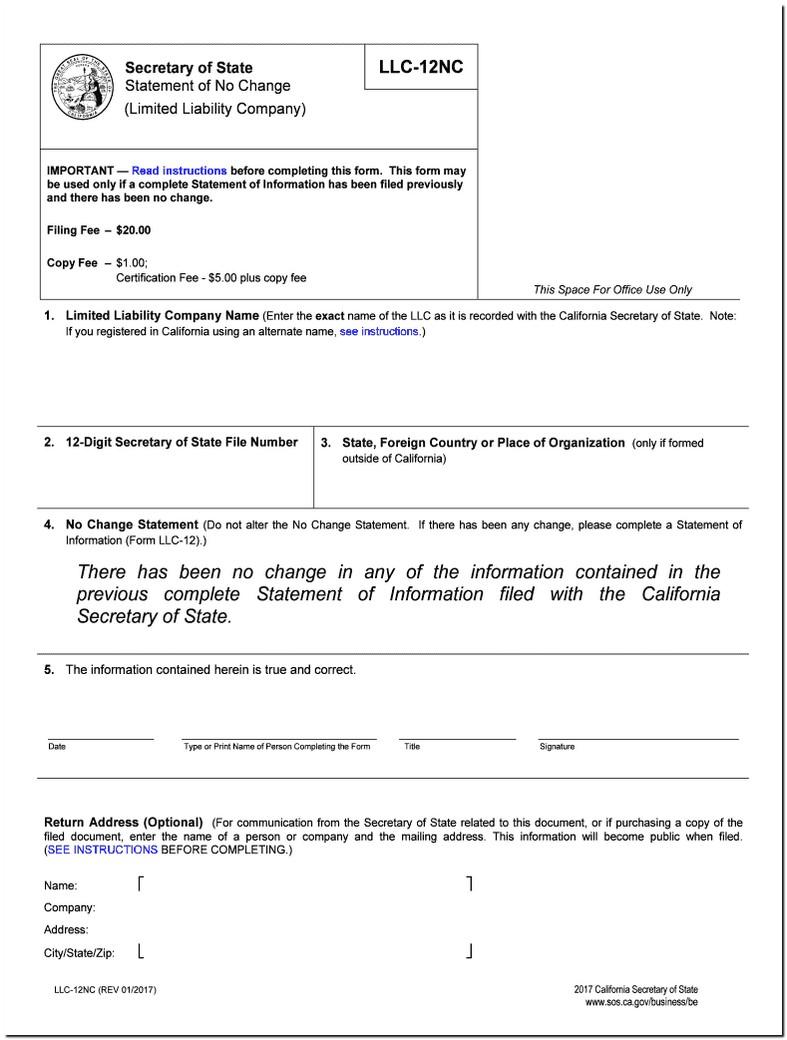 Statement Of Information Llc 12nc
