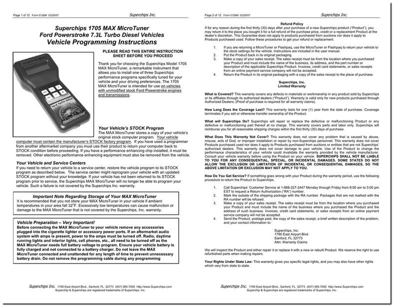 Superchips 1705 Max Micro Tuner Manual