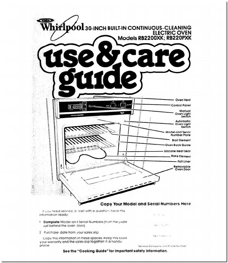 Whirlpool Stove Manual