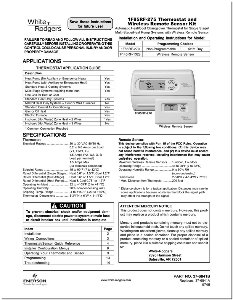 White Rodgers Thermostats Manual