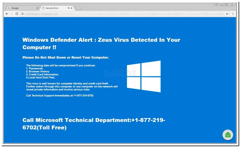 Windows Defender Alert Zeus Virus Detected